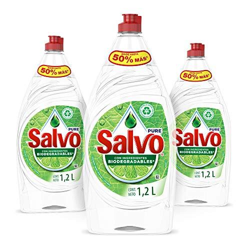 Salvo Lavatrastes Liquido Salvo Pure 3 Unidades 1.2Lts, Total 3.6Lts, Color, 3.6 L