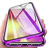 Carcasa para Xiaomi Mi Note 10/Mi Note 10 Pro, Magnética Funda [Marco de Metal] [9H Vidrio Templado de Doble Cara] Cubierta 360 Protección Aluminio Parachoques Magnet Case Funda, Púrpura