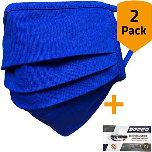 2er-Pack Mundschutz waschbar aus 100% Bio-Baumwolle Oeko-TEX 100 Standard Earloop-Design | Wiederverwendbare Behelfs-Abdeckung für Mund Nase in blau