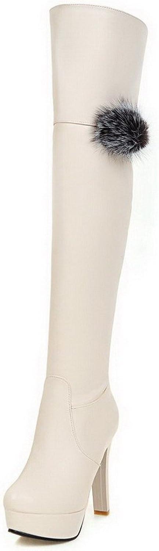 AmoonyFashion Women's Soft Material Zipper Round Closed Toe High Heels High-top Boots