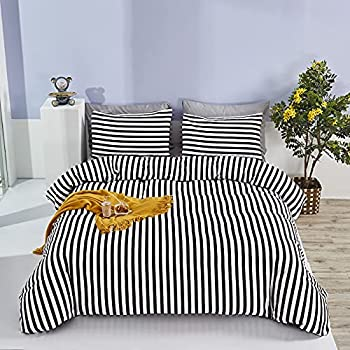 Wellboo Striped Comforter Sets Black and White Stripe Bedding Sets Queen Full Women Men Modern Quilts Cotton Adults Abstract Vertical Stripe Blanket Luxury Gothic Chic Warm Soft with 2 Pillowcases