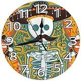 Mailine Reloj de Pared Zombie Reloj de Pared Decorativo Silencioso Sin tictac - Redondo Fácil de Leer Reloj Decorativo