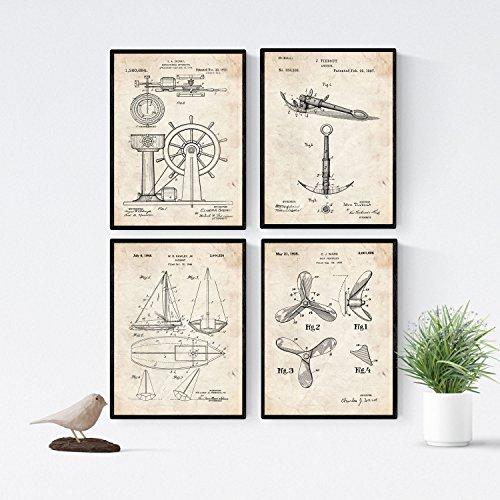Nacnic Boote Patent Poster 4er-Set. Vintage Stil Wanddekoration Abbildung von Schiffen und Alte Erfindungen. Verschiedene nautische Schiffsteile Bilder ohne Rahmen. Größe A4.