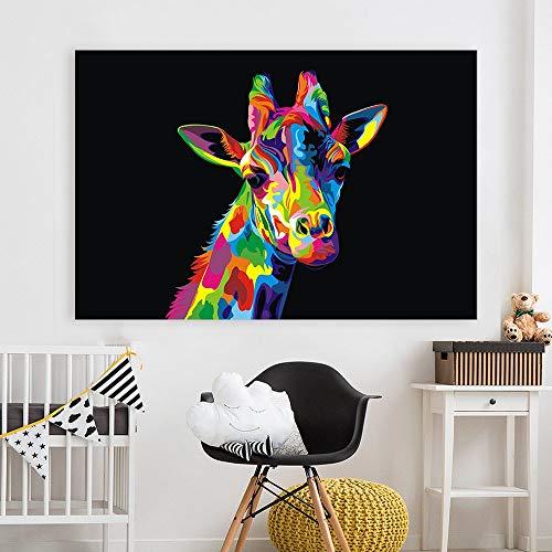 KWzEQ Pop-Art-Leinwand für Wohnzimmer Dekoration Poster und Drucke mit bunten Giraffen,Rahmenlose Malerei,75x112cm