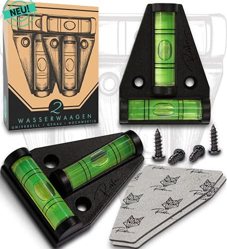NEU | Robfox® T-Wasserwaage - 2x magnetische Kreuzwasserwaage - Wasserwaagen Set inkl. Befestigung - Handliche Präzisions-Wasserwaage für Camping & Handwerken