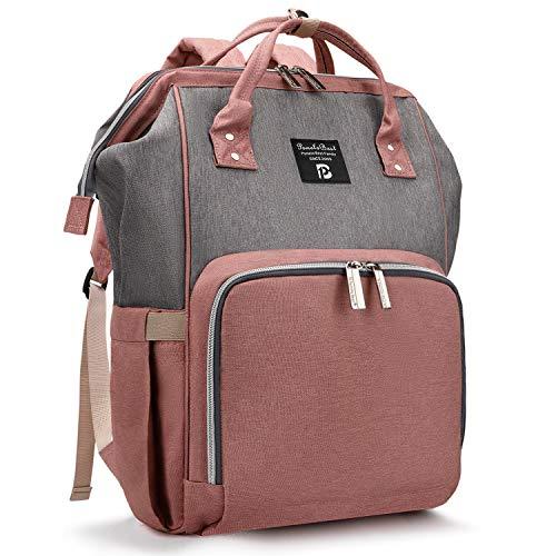 Pomelo Best Baby Wickelrucksack stylische Wickeltasche Rucksack mit Wickelunterlage multifunktional wasserabweisend Große Kapazität Rucksack für unterwegs (Grau mit Rosa)