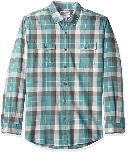 Amazon Essentials - Camisa de sarga con dos bolsillos y manga larga para hombre, Verde (Green Buffalo Bbf), US...