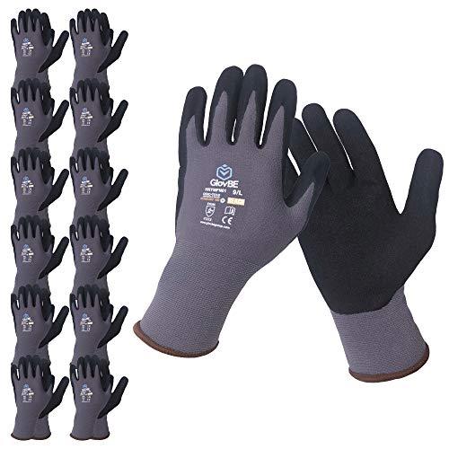 GlovBE 6 Pairs Nylon Work Gloves, Nitrile Micro Foam Slip Resistant Coating on Palm, Smart Touch, Grey (Medium)