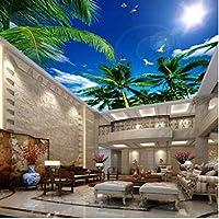 Iusasdz 大きな天井の3D壁紙をカスタマイズするココナッツブルースカイホワイトクラウドカモメ天井天頂壁画壁紙家の装飾-350X250Cm