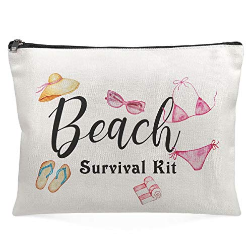 Cosmetic Pouch For Women - Beach Survival Kit-Cute Accessories Organizer Girl Friends Gifts Wife Sisters Mother'Day Makeup Bag,Travel Case, Stash Box