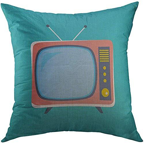 Duang Kussensloop Kussenslopen Lege Televisie Leuke Retro Tv Oud in Cartoon Stijl Vintage Antenne Kussensloop voor Mannen Vrouwen Jeugd Kussensloop 45X45cm