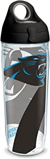 Tervis 1290777 NFL Carolina Panthers Insulated Tumbler with Wrap and Black with Gray Lid, 24 oz Water Bottle, Clear