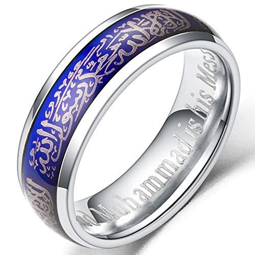 Jude Jewelers - Anillo de 6 mm de Acero Inoxidable con Cambio de Color islámico musulmán Muhammad Shahada (Negro, 12)
