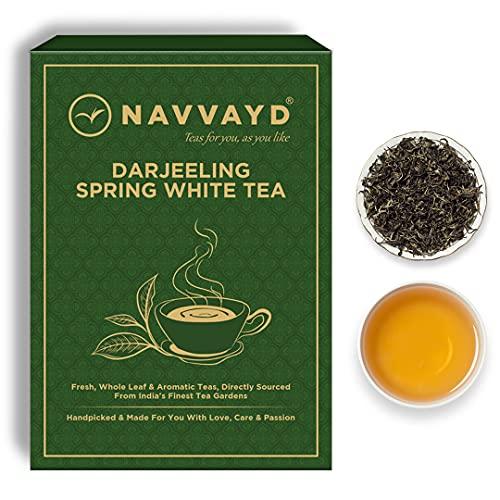 Navvayd Darjeeling First Flush Flavorful White Tea (100 Gm, 50 Cups) | Loose Leaf