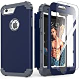 iPhone 6S Plus Case with Tempered Glass Screen Protector,Blue iPhone 6 Plus Case, IDweel 3 in 1 Shockproof Slim Hybrid Heavy Duty Hard PC Cover Soft Silicone Rugged Bumper Full Body Case,(Blue)
