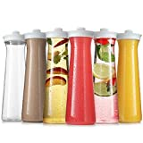 Carafes for Mimosa Bar - Plastic Carafe Water Pitcher - Pitcher with Lid and Spout Clear Juice Containers with lids for Fridge - BPA Free Party Drink Pitcher - Not Dishwasher Safe (6 Pack 25 Oz)