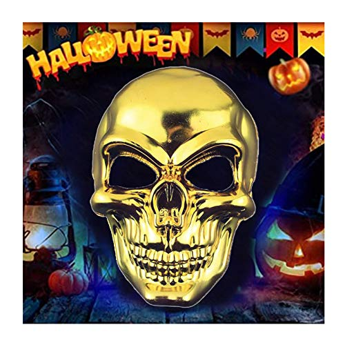 Halloween Mask Scary Death Skull Skeleton Mask Metal Funny Mask,for Party and Decoration Cosplay Costume Props Accessories (Gold)