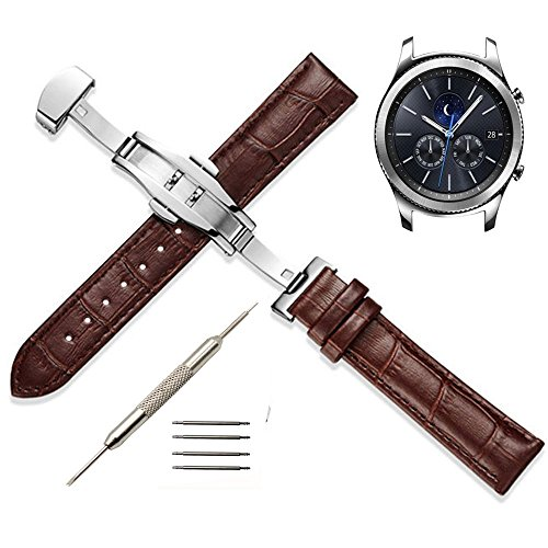 22mm Genuine Leather Watch Band - Replacement Strap for Samsung Gear S3 Frontier/S3 Classic/Moto 360 2nd Gen 46mm Smart Watch (Brown)