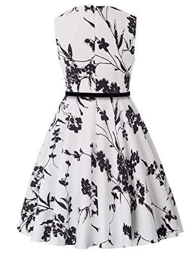 50s Sleeveless Vintage Swing Rockabilly Retro Summer Party Dresses for Girls 9-10yrs K250-25