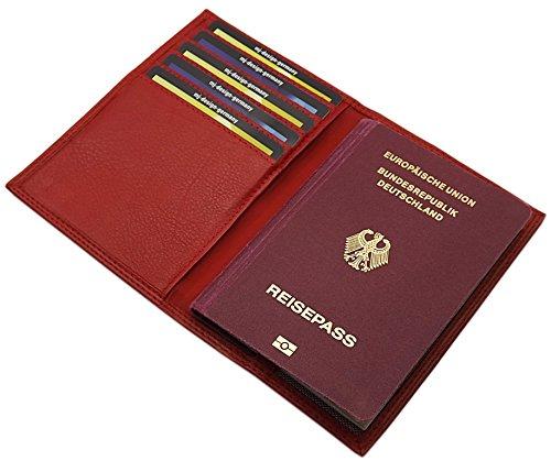 MJ-Design-Germany Reisepass Schutzhülle mit 5 Scheckkartenfächern Kalbsleder in 3 Farben, Rot, One Size