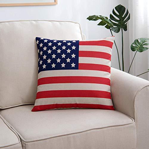 YXYLQ Quadrato Federa Cuscino Cuscino Schienale Divano in lino-60X60 CM/Federa + Cuscino_Bandiera Americana