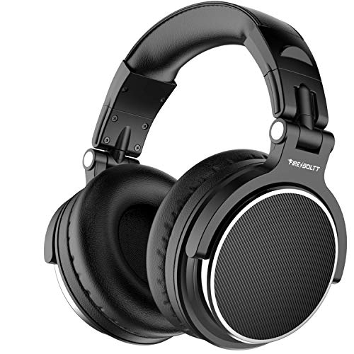 Fire-Boltt Blast 1600 Over Ear Headphone, Wired DJ Bass Headsets with 50mm Driver, Foldable Lightweight Headphones with Shareport and Mic for Recording Monitoring Podcast Guitar PC TV