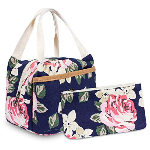 Leaper Floral Lunch Box Women Insulated Lunch Bag Pencil Case Pencil Bag 2 PCS Dark Blue
