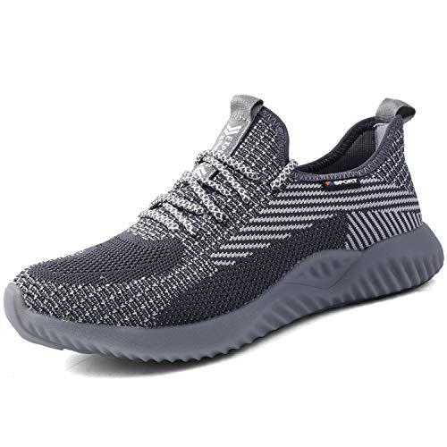 UCAYALI Zapato de Seguridad Hombre Zapatilla de Trabajo con Punta de Acero Ligero Antideslizantes Calzado Industrial Transpirable(Gris, 44 EU)