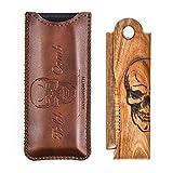 Menesia Men's Pocket Comb,Folding Wooden Beard Comb with Leather Travel Case,Green Sandalwood Hair Combs Set for Men(Skeleton)
