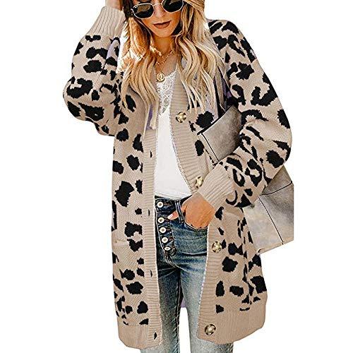 YEBIRAL Damen Frühling Herbst Winter Strickjacke Casual Leopard Print Cardigan Strickpullover Langarm Strickcardigan mit Knopf
