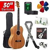 Baritone Ukulele 30 Inch Ukelele Uke 4 String Guitar With Ukele Picks Strap Tuner G-C-E-A String (Mahogany Body)