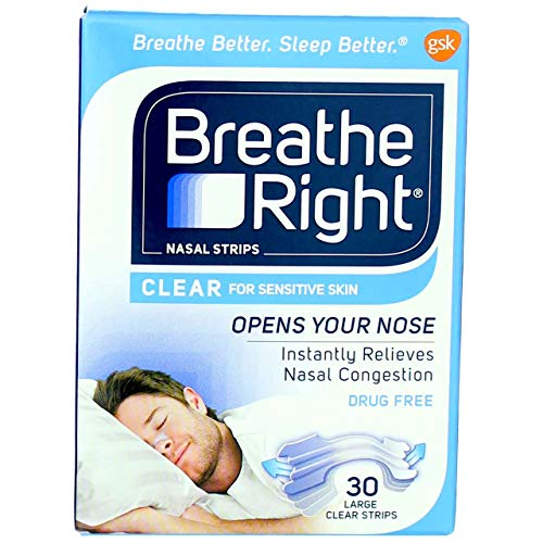 Breathe Right Nasal Strips Clear For Sensitive Skin Large 30 Each (Pack of 12)