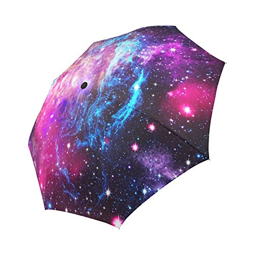 InterestPrint Space Nebula Galaxy Universe Windproof One Hand Auto Open and Close Folding Umbrella, Stars Starry Night Rain & Outdoor Unbreakable Travel Umbrella