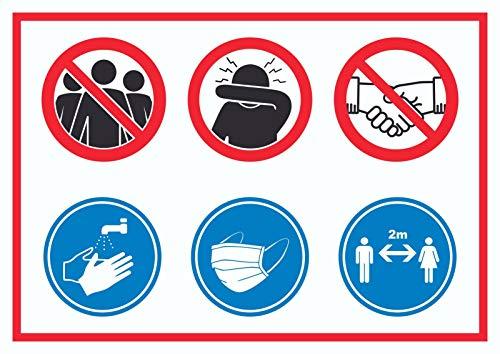 HB-Druck Hygieneregeln Symbol Schild A4 Rückseite selbstklebend
