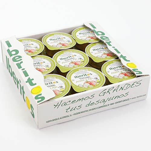 Iberitos - 18 Monodosis de Tomate Natural con Aceite de Oliva Virgen Extra y Ajo - 22 Gramos