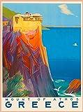 Letrero de chapa retro de Grecia con el Monte griego de Athos Europa EuropeanTin Sign Vintage Bar Home Cocina Cueva Café Shop Decoración de pared (20 x 30 cm)