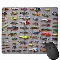 マウスパッド釣りに最適な餌長方形滑り止めパーソナライズされたデザインゲーミングラバーマウスパッドステッチエッジマウスマット9.8x11.8インチ