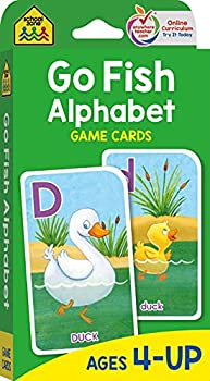 School Zone - Go Fish Alphabet Game Cards - Ages 4 and Up Preschool to First Grade Uppercase and Lowercase Letters ABCs Word-Picture Recognition Animals Card Game Matching and More