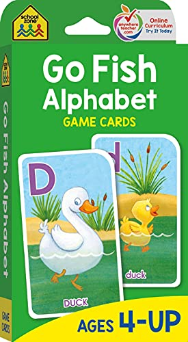 School Zone - Go Fish Alphabet Game Cards - Ages 4 and Up, Preschool to First Grade, Uppercase and Lowercase Letters, ABCs, Word-Picture Recognition, Animals, Card Game, Matching, and More