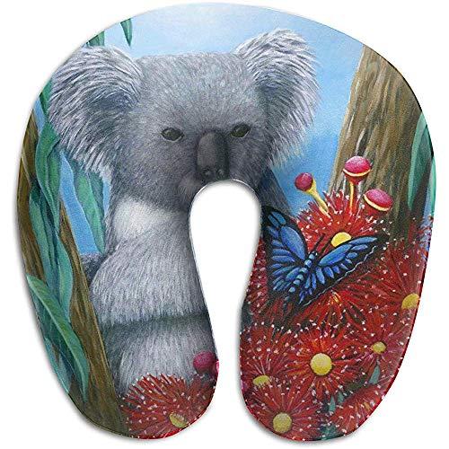Schiuma di Memoria per cuscino per Collo a Forma di U a Forma di Farfalla Koala, cuscino per cuscino da viaggio, traspirante morbido confortevole regolabile