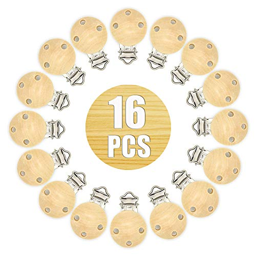 16 Pinza pinzas chupete pinzas, clip chupetero madera para chupete (Natural, 16 Pcs)