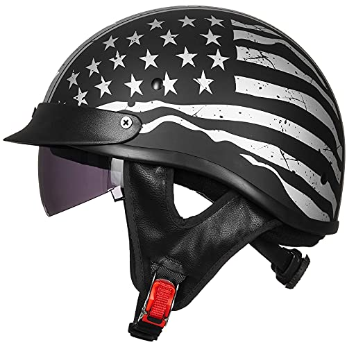 ILM Half Helmet Motorcycle Open Face Sun Visor Quick Release Buckle DOT Approved Cycling Motocross Suits Men Women (S, Patriotic Flag)