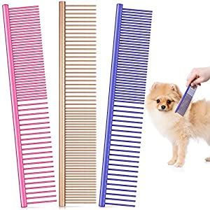 3 Pieces Pet Steel Combs, Pet Dog Cat Grooming Comb Multi-color Dog Comb with Stainless Steel Teeth for Removing Tangles and Knots for Long and Short Haired Dog, 7.5 x 1.3 Inch (Gold, Pink, Violet)