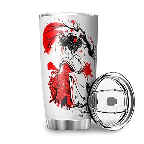 Botella de agua japonesa de Tumbler, con tinta roja y sol, 20 onzas, a prueba de fugas, tapa de color blanco, 600 ml