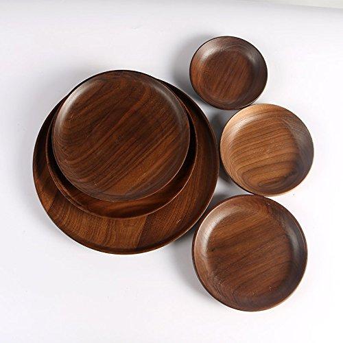 AMRZS Household tray Black walnut Wood round western Solid wood coffee dessert Pizza Children's