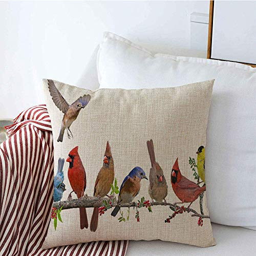 Affordable Decorative Throw Pillow Cases Chirpers Songbird Celebration Bunting Bluebird Meeting Redb...