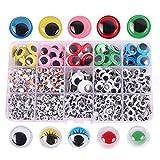 XUBX 1500 piezas Autoadhesivo Ojos, Adhesivos Ojos de plástico Móviles Manualidades Ojos, Wobbly Goo...