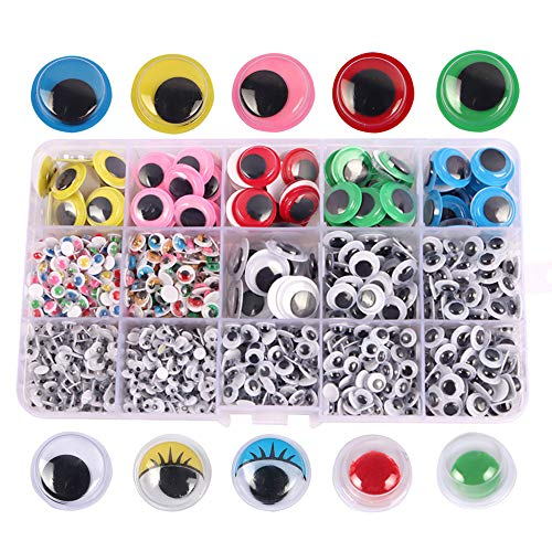 XUBX 1500 piezas Autoadhesivo Ojos, Adhesivos Ojos de plástico Móviles Manualidades Ojos, Wobbly Googly Wiggle Eyes para DIY Scrapbooking Artesanía Accesorios de Juguete (tamaños surtidos)
