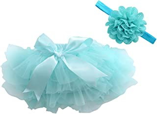 a9cba4aa623 muyan Girls Cotton Tulle Ruffle with Bow Baby Bloomer Diaper Cover and Headband  Set
