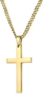 24K Gold Chain Style Cross Pendant Necklace Solid Plated Clasp for Men,Women,Teens Thin for Charms Miami Cuban Link Diamond Cut